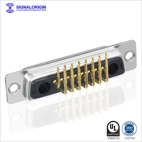 17W2 female d-sub mixed contact right angle pcb connector