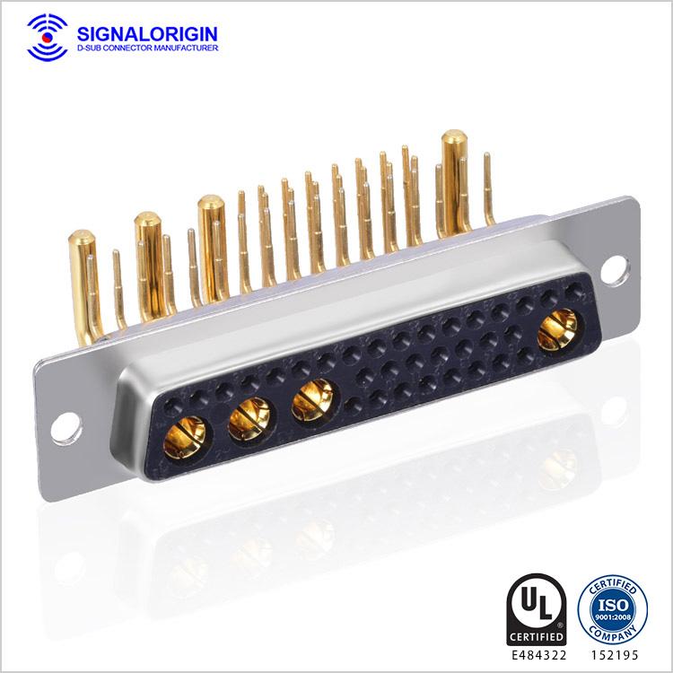 36W4 high current female d sub mixed contact connectors