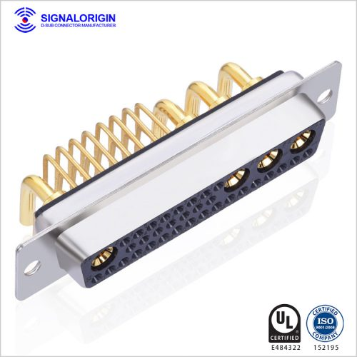 36W4 high current female d sub mixed contact connectors