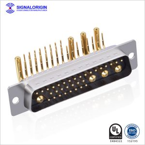 36w4 d-sub combo right angle high current pcb connector