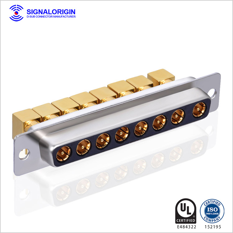 Right angle female coaxial d sub 8W8 connector wholesale
