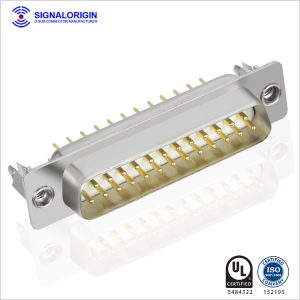 25 pin male d sub connector with boardlocks