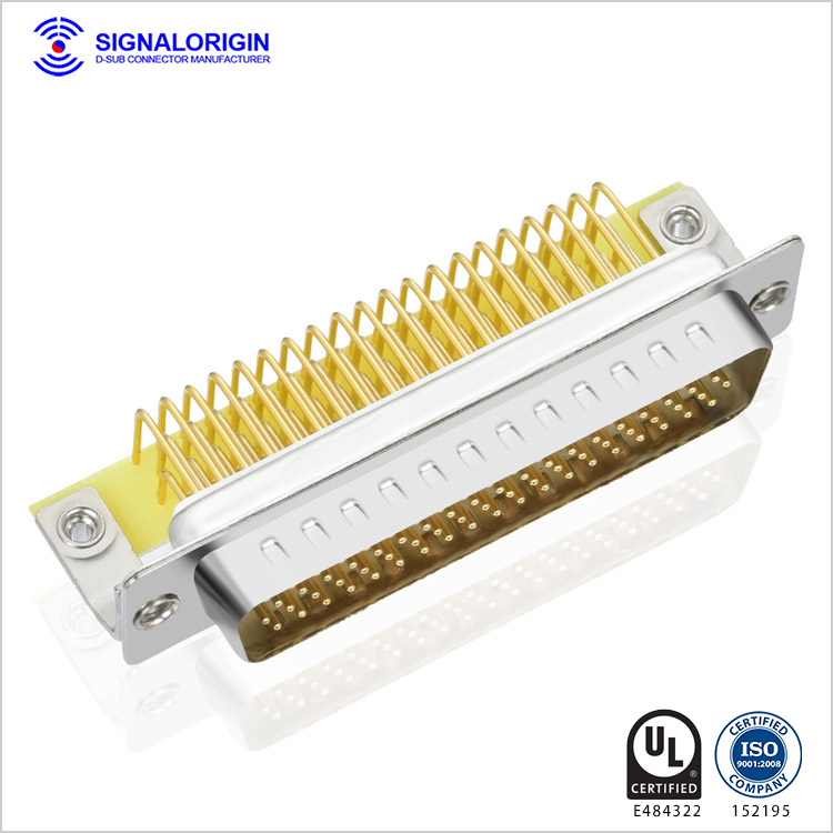 High density right angle 78 pin d sub connector
