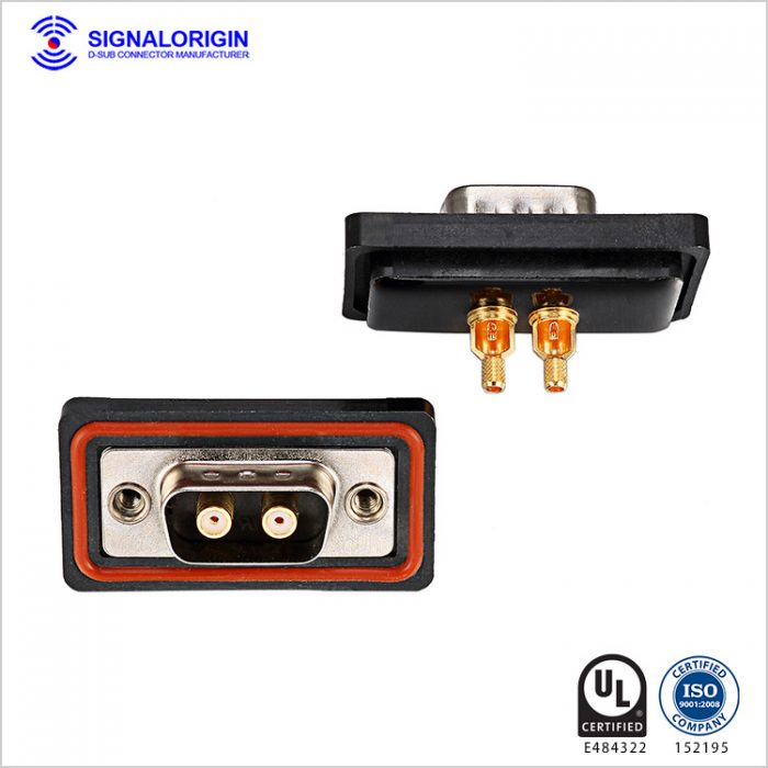2w2 male d sub solder cup coaxial power connector