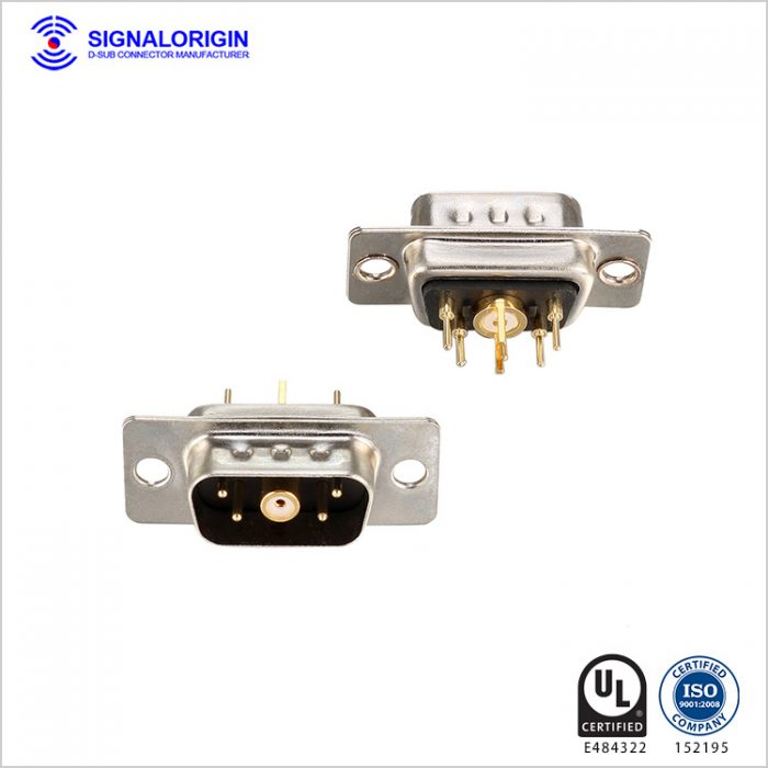 5W1 male coaxial power d shell connector