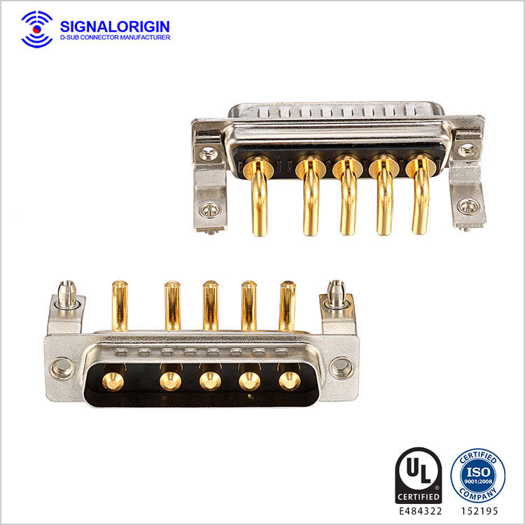 5W5 male high current d sub right angle connector