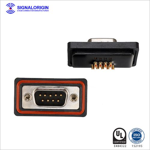 Waterproof solder 9 pin d type male connector