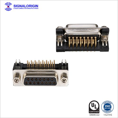Right angle pcb d sub 15 pin female connector