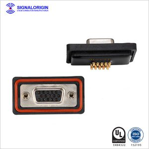Solder cup waterproof female db 15 pin connector