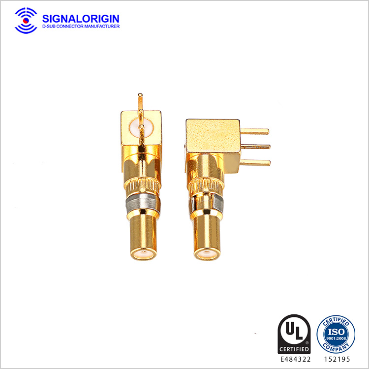 Signal d-sub female coaxial right angle terminal