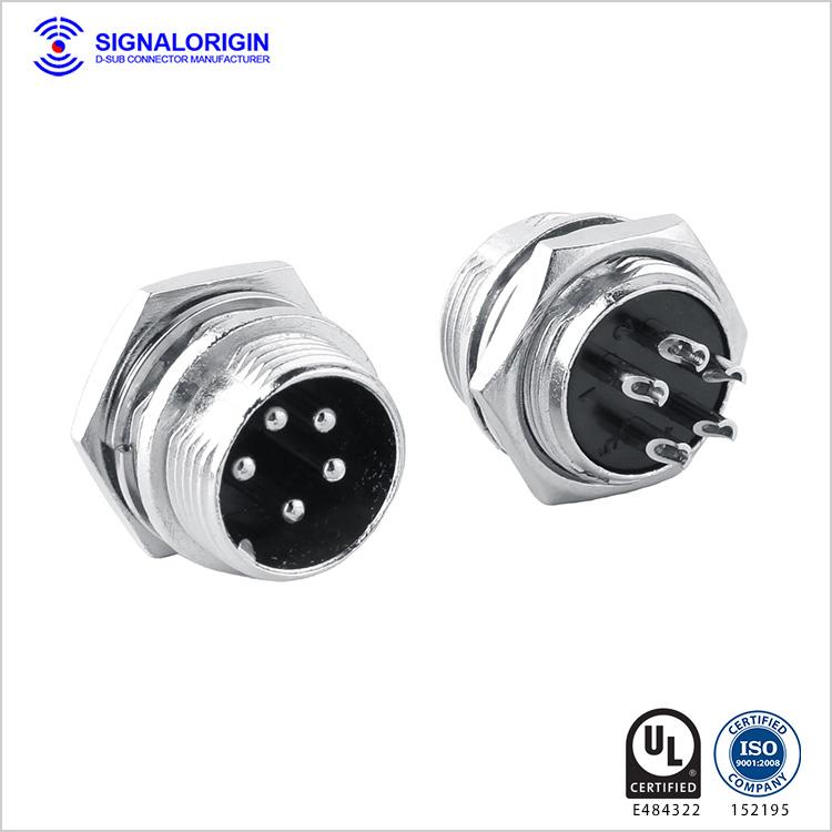 M16 5 PIN waterproof solder cup circular power connector