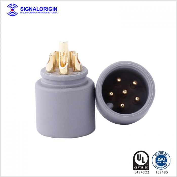 6 pin solder cup male round electrical connectors supplier
