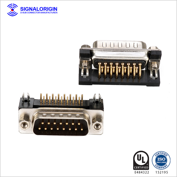 Right angle pcb d-sub 15pin connector