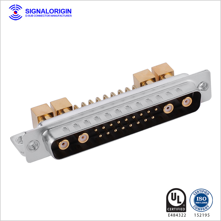 21W4 D-sub coaxial connector male right angle