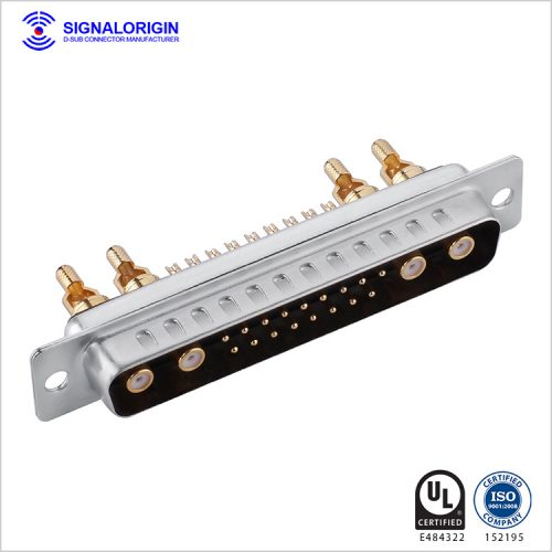 21W4 D-sub coaxial connector male solder cup