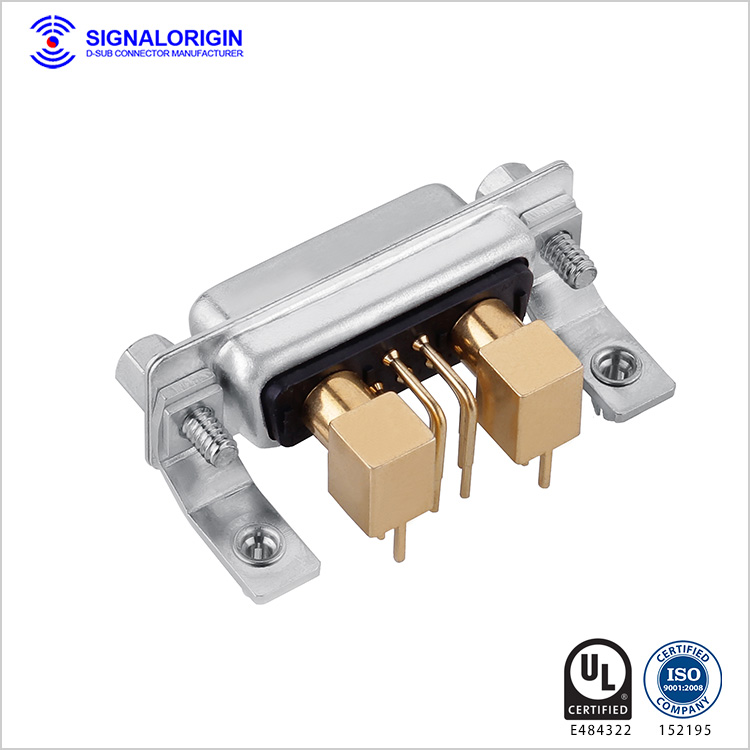 7W2 D-sub coaxial connector female pcb right angle