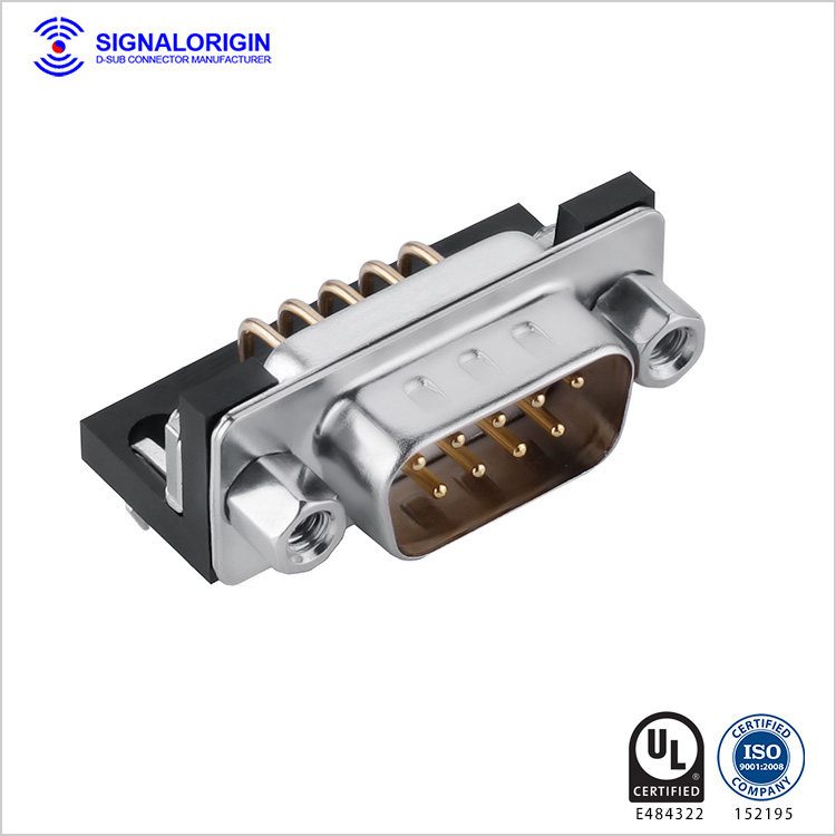 D-sub 9 pin male connector PCB right angle