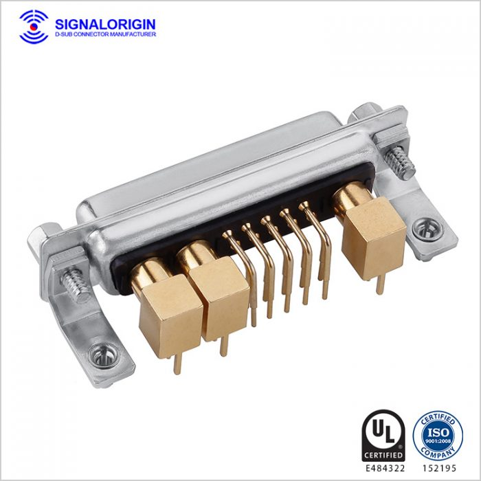 13W3 D-Sub coaxial female right angle connector