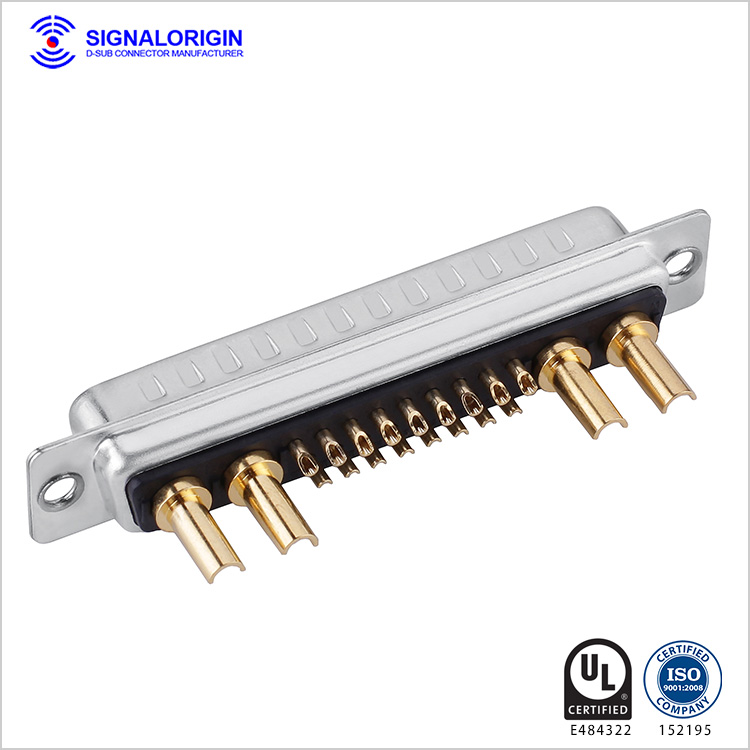 21W4 D-sub male connector high current solder cup
