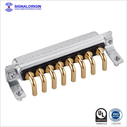8W8 D-sub high current male connector right angle type