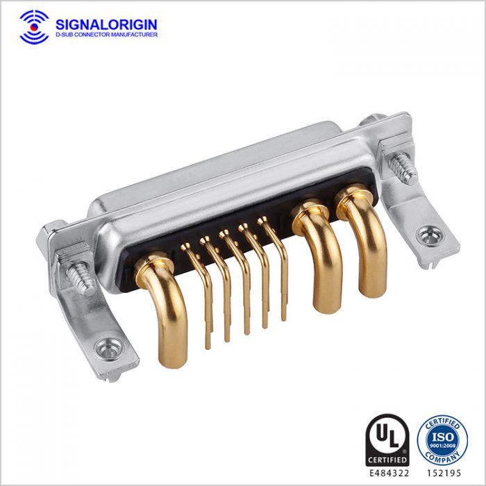 13W3 D-sub high current female connector right angle type