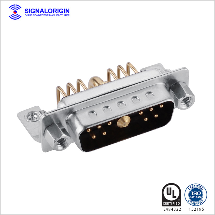 11W1 D-sub male right angle high current connector